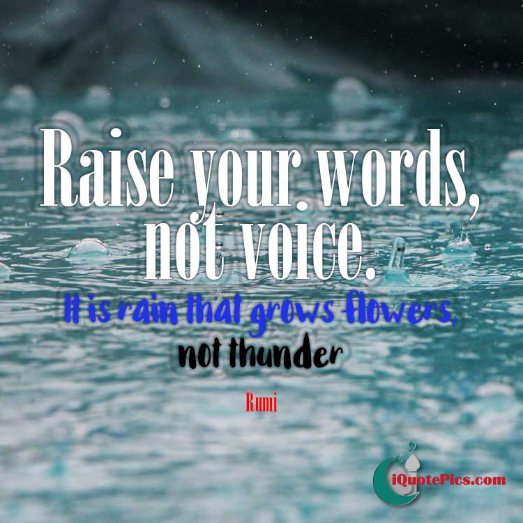 Islamic pictures with quotes with quote from Rumi about raising your words not voice.