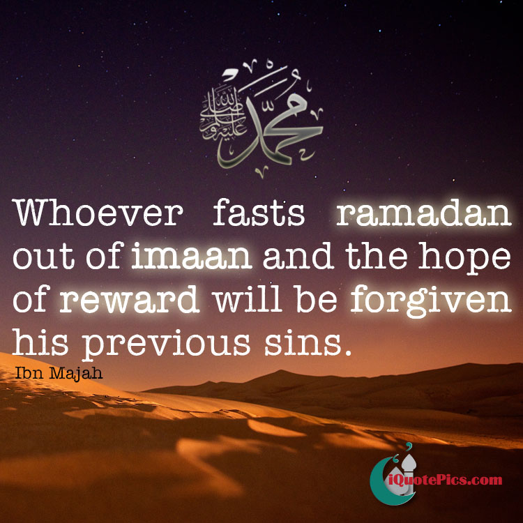 Whoever fasts Ramadan out of hope, sins forgiven hadith image.