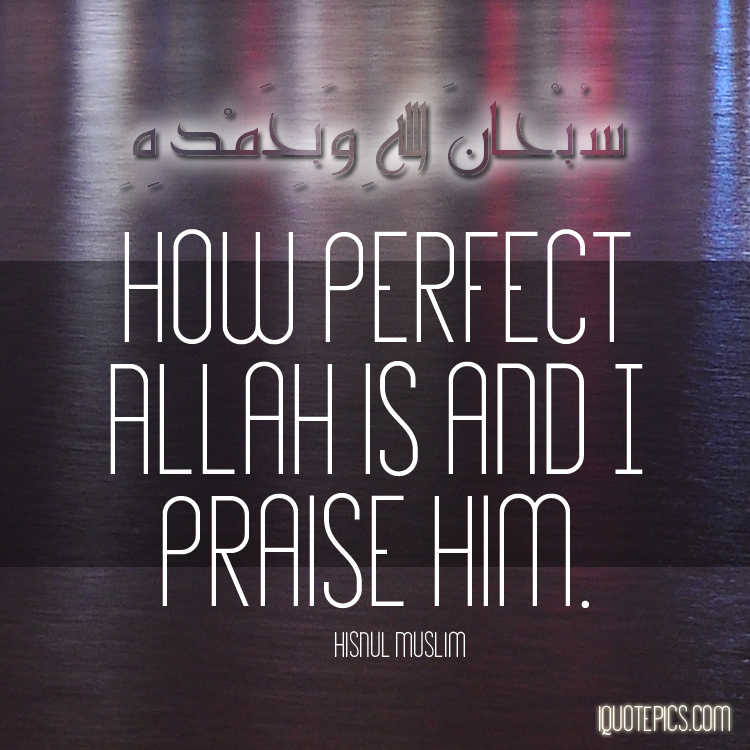 Picture with quote of How perfect Allah is and I praise Him.