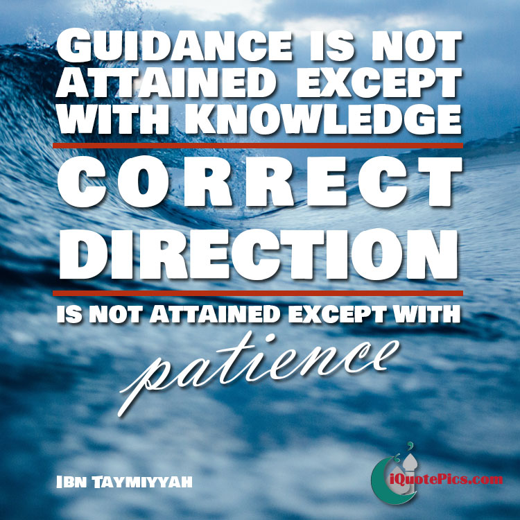 Picture with quote of Guidance is not attained except with knowledge and correct direction is not attained except with patience.