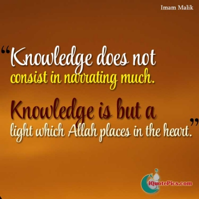Picture with quote of Knowledge does not consist in narrating much. Knowledge is but a light which Allah places in the heart.