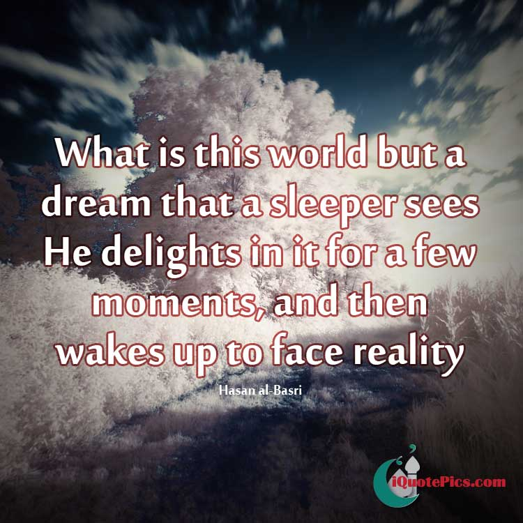 Picture with quote of What is this world but a dream that a sleeper sees. He delights in it for a few moments, and then wakes up to face reality.