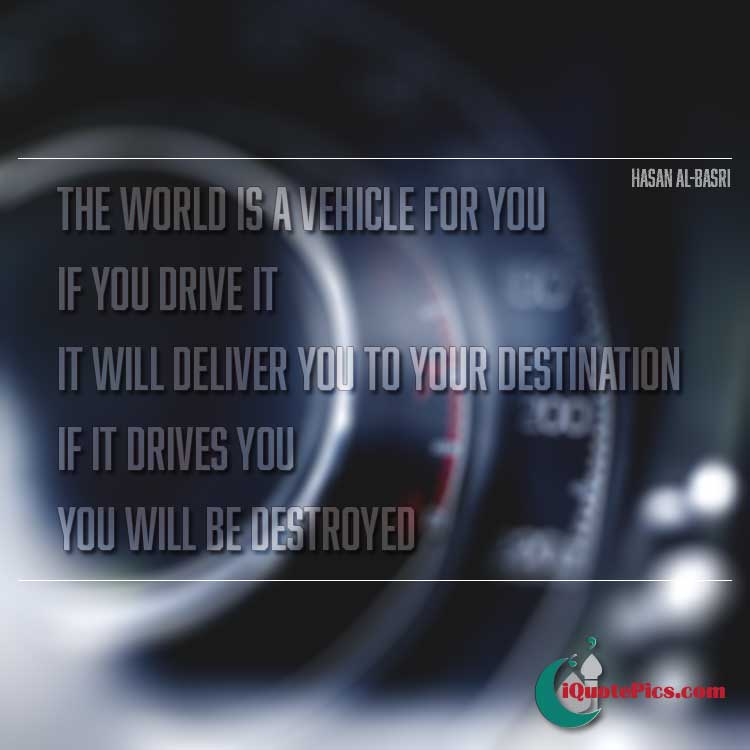 Picture with quote of The world is a vehicle for you. If you drive it, it will deliver you to your destination. If it drives you, you will be destroyed.