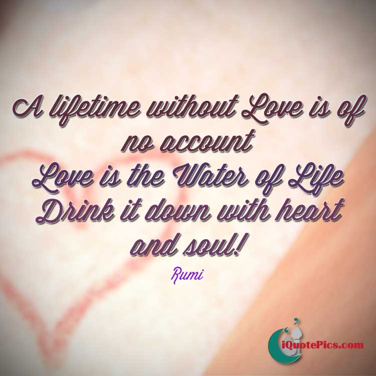 Water Is Life Quote Simple Drink Some Love  Jalal Addin Muhammad Rumi