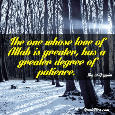 Picture with quote of The one whose love of Allah is greater, has a greater degree of patience.