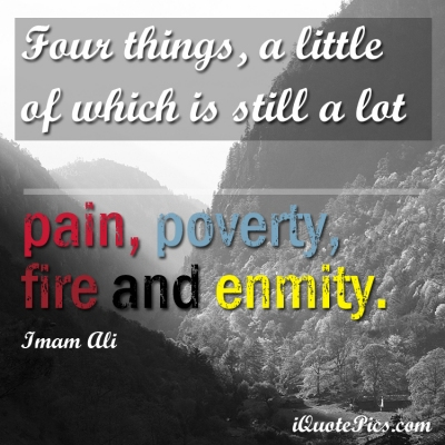 Picture with quote of Four things, a little of which is still a lot; pain, poverty, fire and enmity