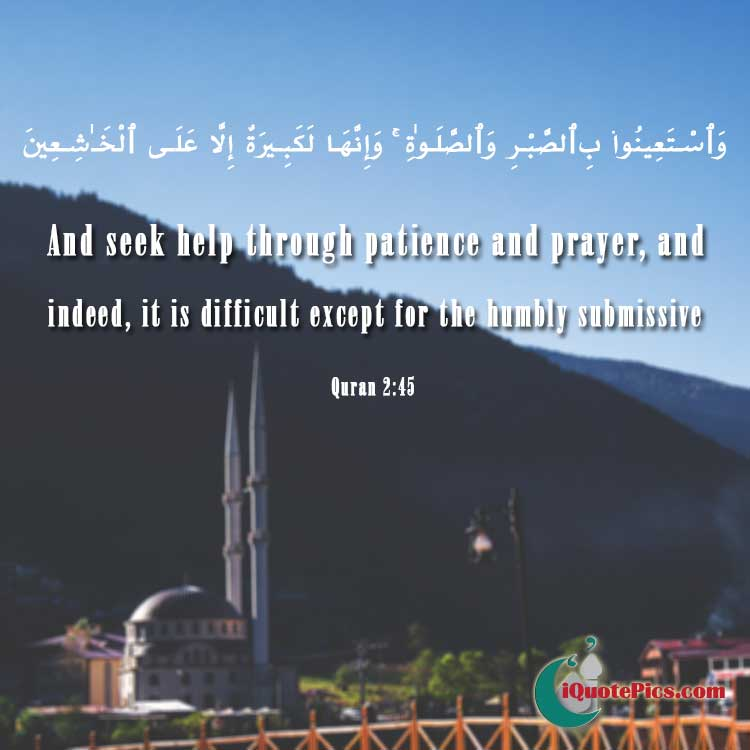 Picture with quote of And seek help through patience and prayer, and indeed, it is difficult except for the humbly submissive.