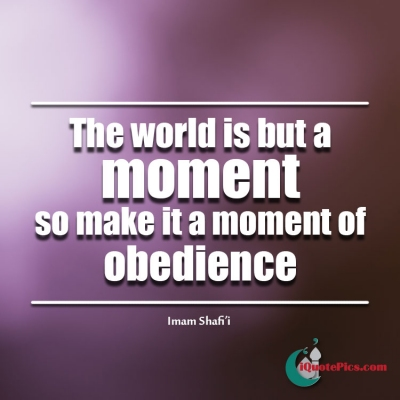 Picture with quote of The world is but a moment, so make it a moment of obedience.