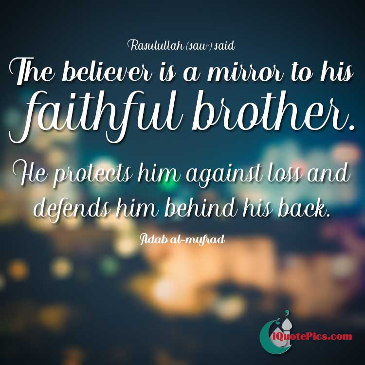 Picture with quote of The believer is a mirror to his faithful brother. He protects him against loss and defends him behind his back.
